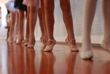 A shot of ballet shoes.